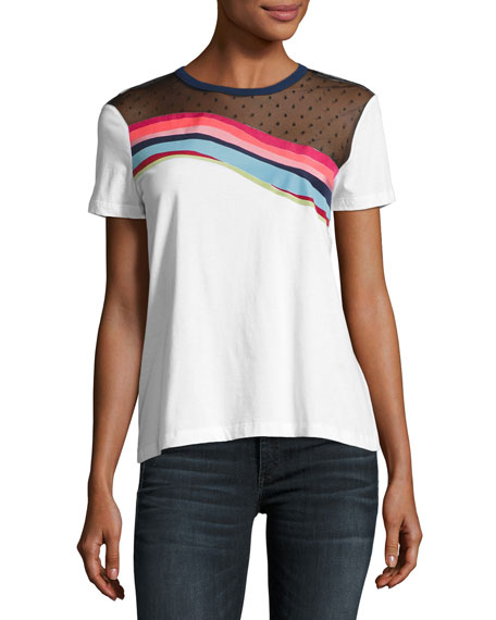 RED Valentino Jersey Rainbow-Wave Tee w/ Point d'Esprit