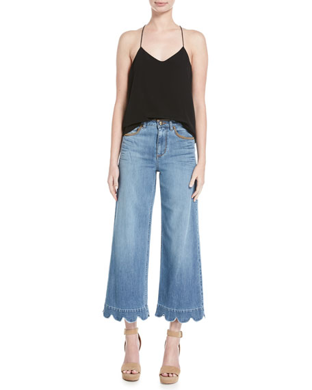 Stone-Washed Cropped Wide-Leg Jeans, Light Blue