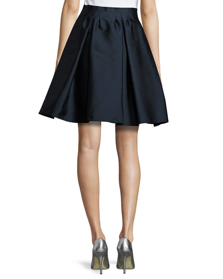 Pleated Twill Taffeta Skirt, Navy