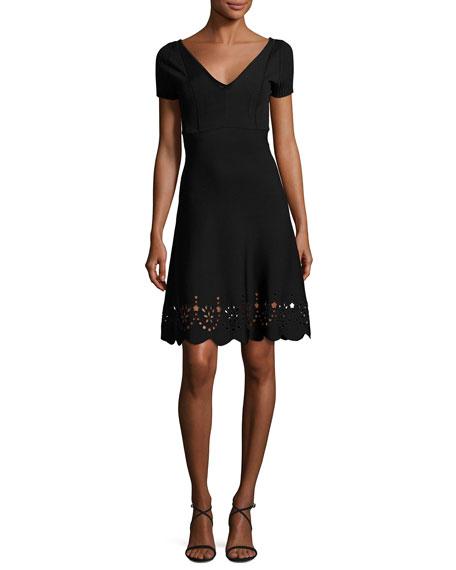 RED Valentino Short-Sleeve Scalloped Eyelet-Trim Dress, Black