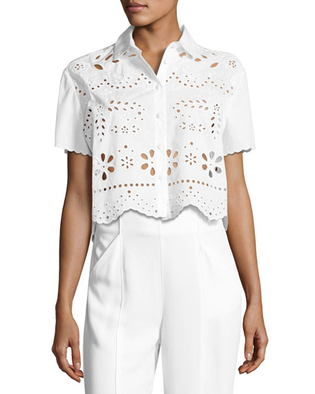 Short-Sleeve Embroidered Muslin Crop Top, White
