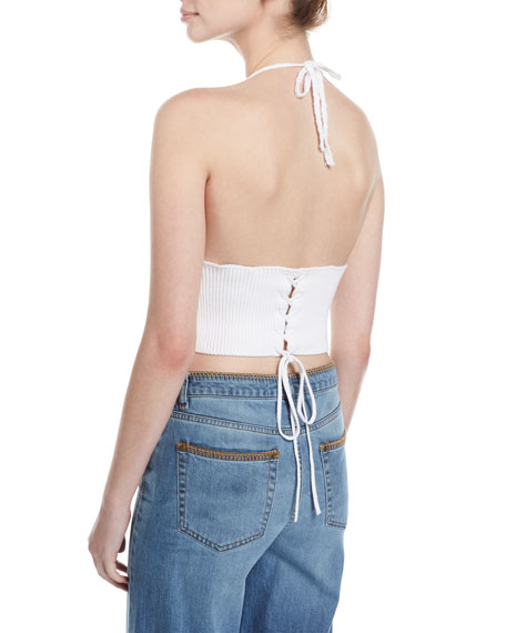 Crocheted Cotton Cropped Halter Top, White