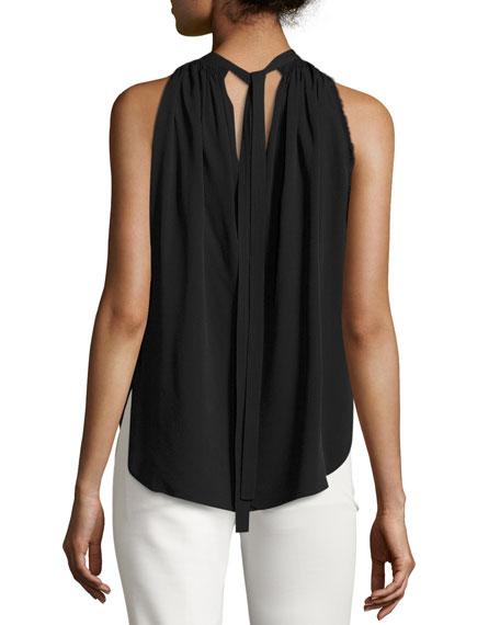 Sleeveless Shirred Crepe Tie-Back Top, Black
