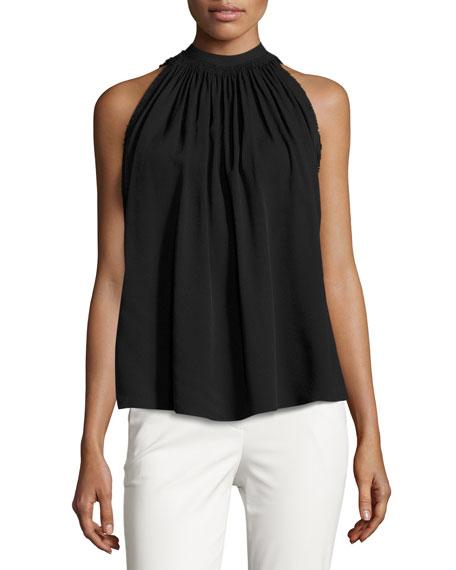 Helmut Lang Sleeveless Shirred Crepe Tie-Back Top, Black