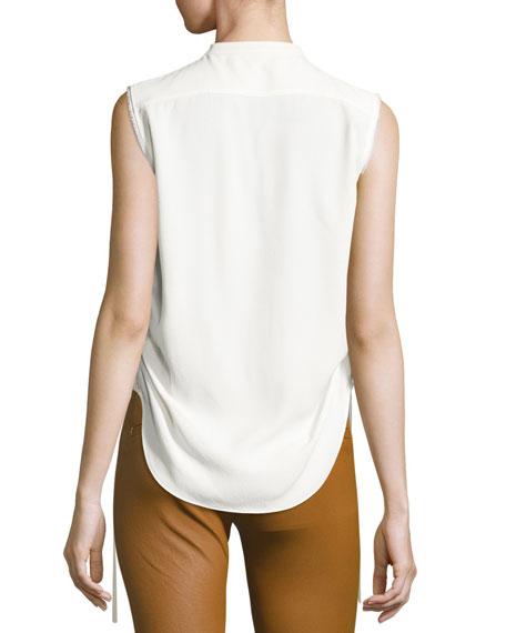 Sleeveless Crepe Drawstring Blouse, White