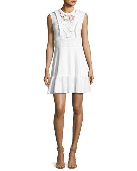 REDValentino Sleeveless Crochet Cotton Dress w/ Embroidered