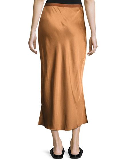 helmut lang satin midi slip skirt bronze
