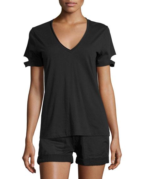Helmut Lang Slit-Cuff Cotton Jersey V-Neck Tee, Black