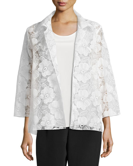 Caroline Rose Morning Glory Organza Easy Shirt, Plus