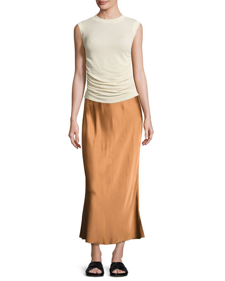 Sleeveless Ruched Silk-Blend Top, Ivory