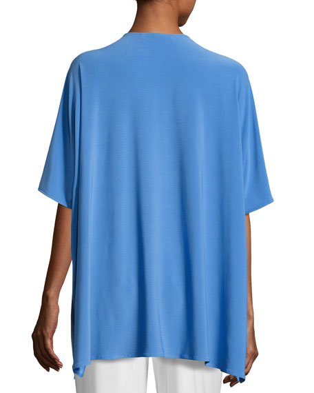 Knit Open-Front Cardigan, Medium Blue