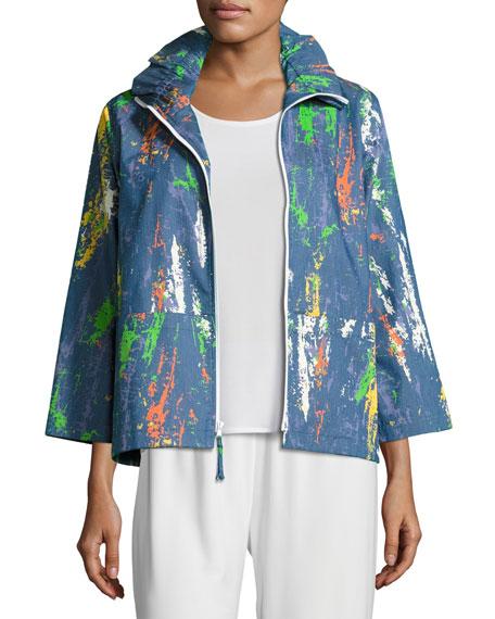 Caroline Rose Paint Splash Zip-Front Denim Jacket, Plus