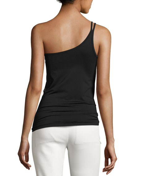 One-Shoulder Stretch Jersey Tank, Black
