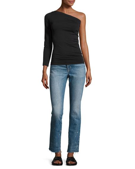 One-Shoulder Stretch Jersey Top, Black