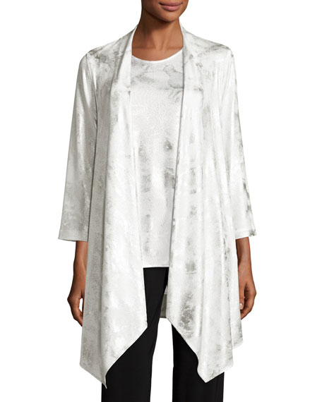 Silver Cloud Drape-Knit Cardigan, White/Silver