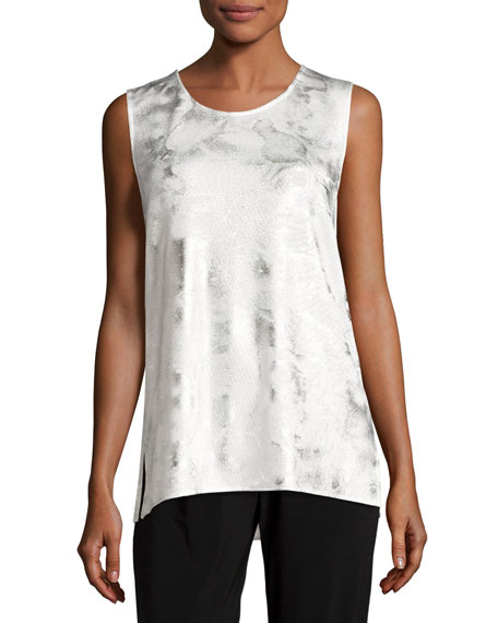 Caroline Rose Silver Cloud Knit Long Tank, White/Silver,