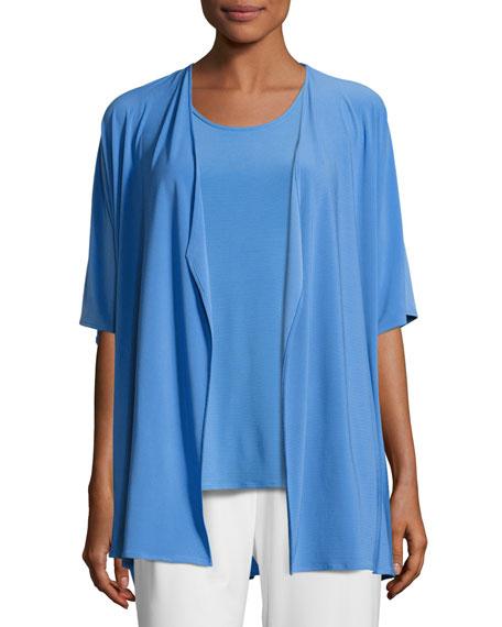 Caroline Rose Knit Open-Front Cardigan, Medium Blue, Plus