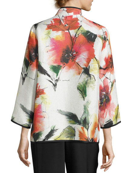 Poppy Bouquet Mandarin-Collar Jacket, Multi