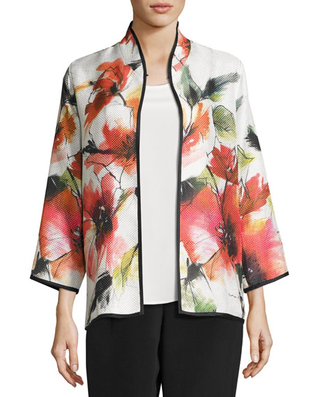 Caroline Rose Poppy Bouquet Mandarin-Collar Jacket, Multi