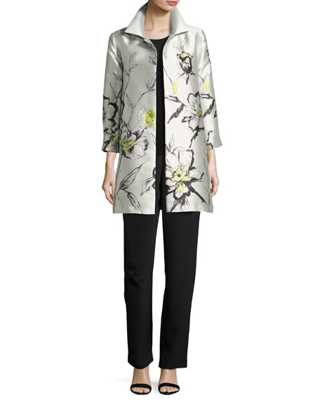 All-in-Bloom Jacquard Party Jacket, Light Yellow