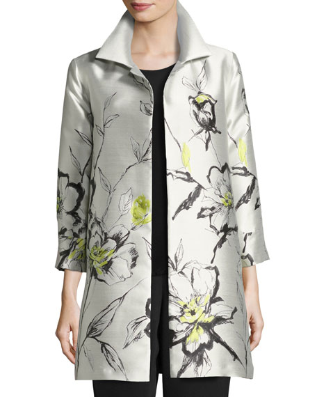 Caroline Rose All-in-Bloom Jacquard Party Jacket, Light Yellow,