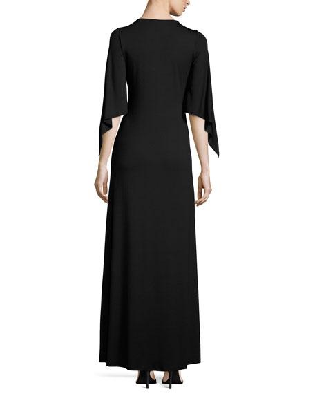 Megane Cape-Sleeve Maxi Dress, Black