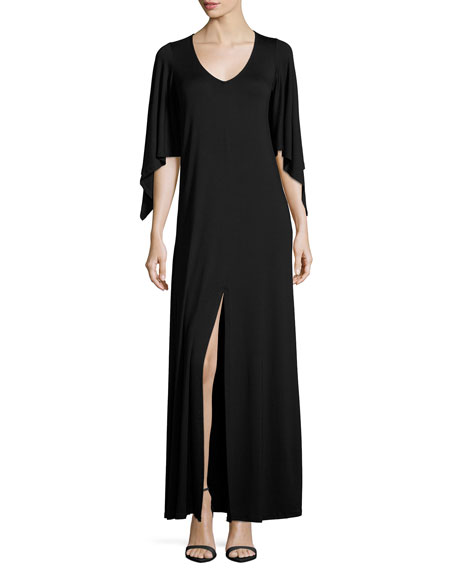 Rachel Pally Megane Cape-Sleeve Maxi Dress, Black