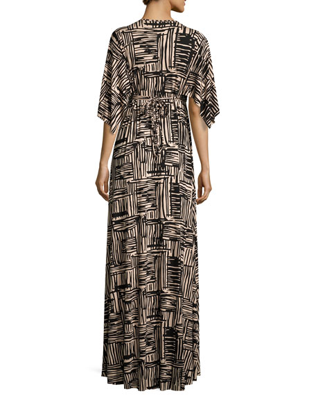 Cape-Sleeve Printed Caftan Maxi Dress, Etch Print