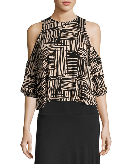 Gideon Cold-Shoulder Cropped Top, Etch Print
