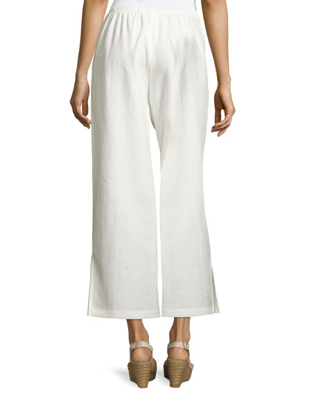 Wide-Leg Linen Ankle Pants, White, Petite