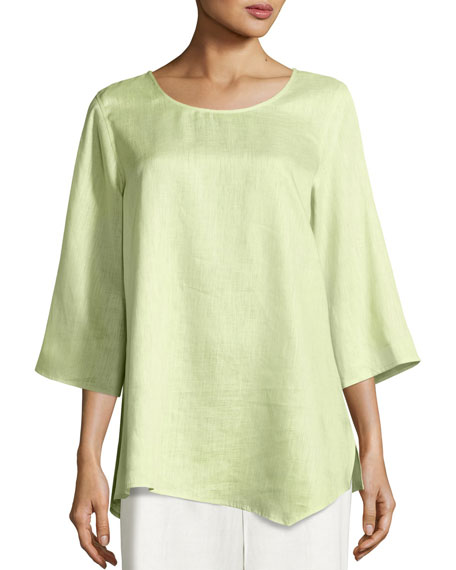 Caroline Rose 3/4-Sleeve Angled-Hem Linen Caftan, Lime and