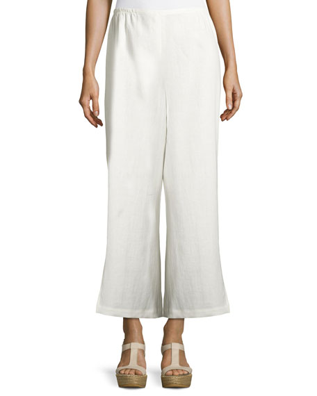 Wide-Leg Linen Ankle Pants, White