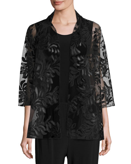 Caroline Rose 3/4-Sleeve Leather Leaf Mesh Jacket, Black,