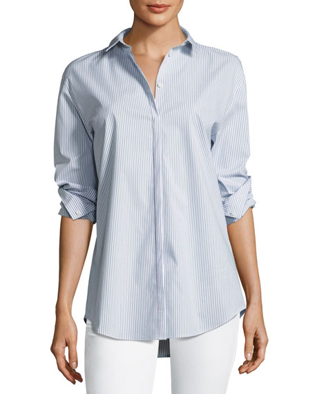 Lafayette 148 New York Idaline Striped Button-Front
