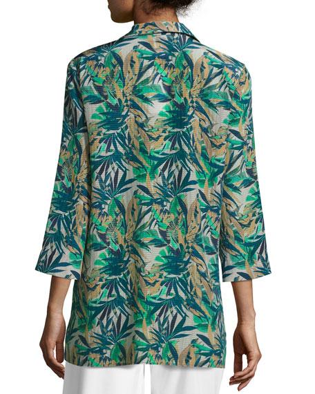 Fran 3/4-Sleeve Santa Clara Palm Seersucker Blouse, Multi