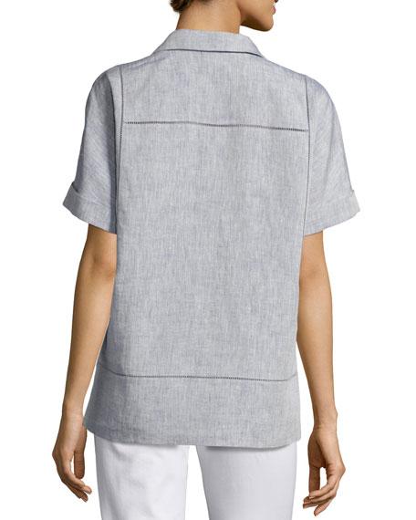 Short-Sleeve Yarn-Dyed Linen Top, Medium Blue
