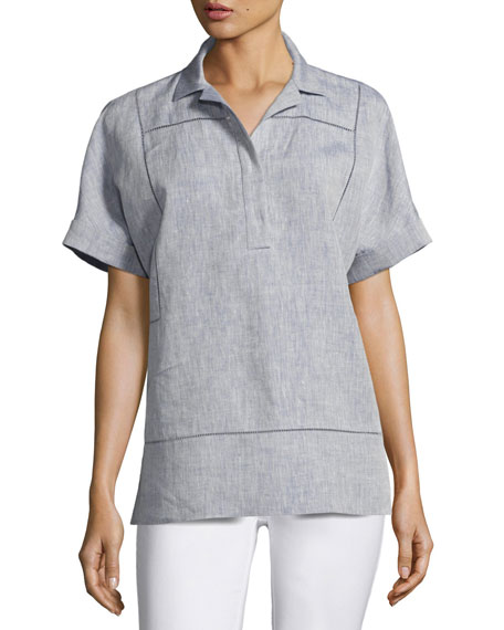 Lafayette 148 New York Short-Sleeve Yarn-Dyed Linen Top,