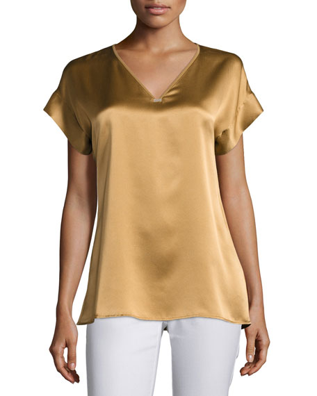 Bryson Water-Washed Silk Blouse, Camel