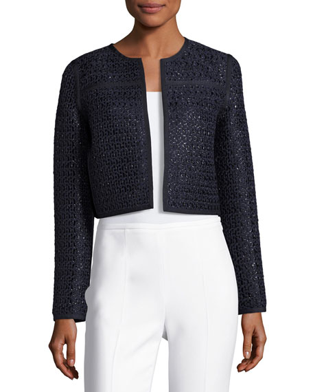 Kadian Loop-Stitch Cropped Jacket, Dark Blue