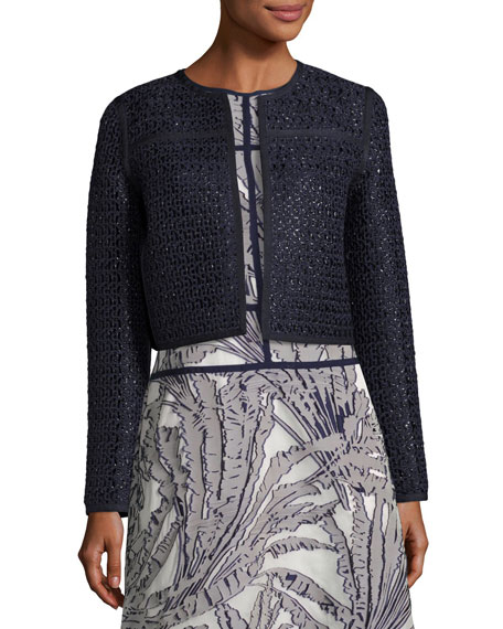 Lafayette 148 New York Kadian Loop-Stitch Cropped Jacket,