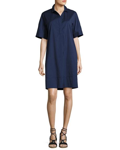 Lafayette 148 New York Jaxine Stretch-Cotton Shirtdress, Dark