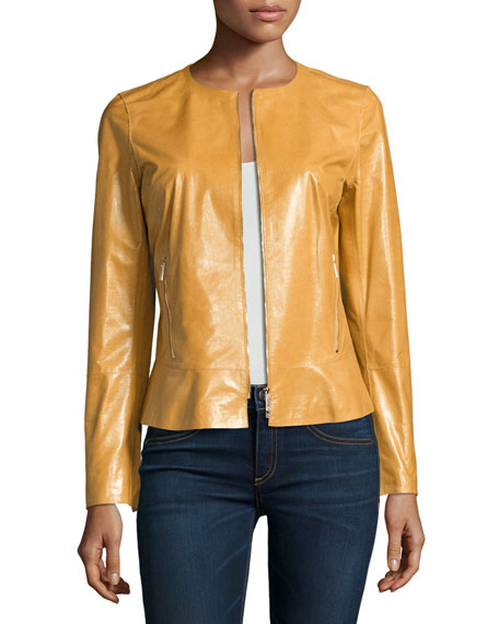 Linda Lacquered Lamb Leather Zip-Front Jacket, Camel