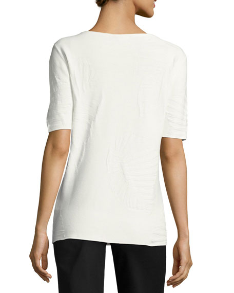 Short-Sleeve Palm-Textured Jacquard Pullover Top