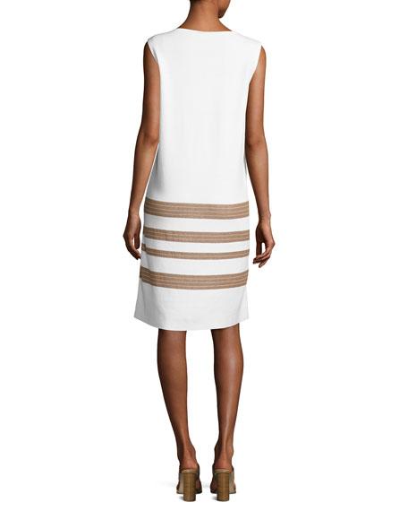 Sleeveless Cotton Crepe Yarn Striped Dress, Multi