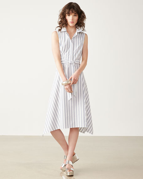 Nanette Sleeveless Basilica-Stripe Cotton Dress, Multi