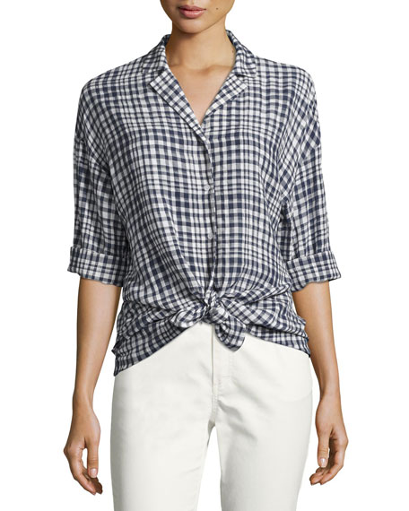 Lafayette 148 New York Analeigh Plaid Bracelet-Sleeve Blouse,