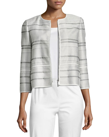 Lafayette 148 New York Tilda Translucent Striped Cropped