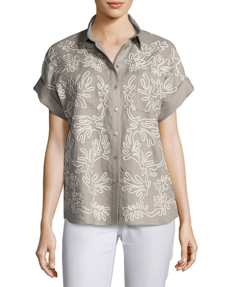 Lafayette 148 New York Rosalia Embroidered Linen Button-Front