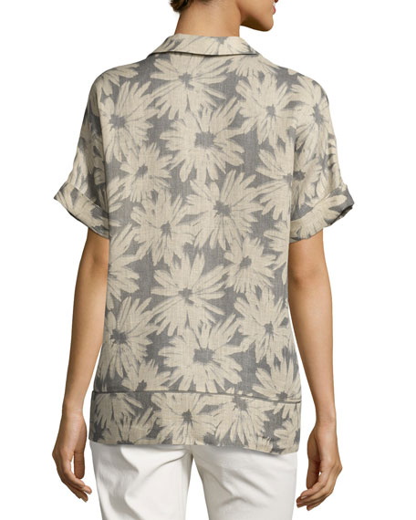 Janus Painterly Maripose-Print Linen Blouse, Multi