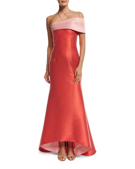 Sachin & Babi Two-Tone Stretch Jacquard Mermaid Gown,